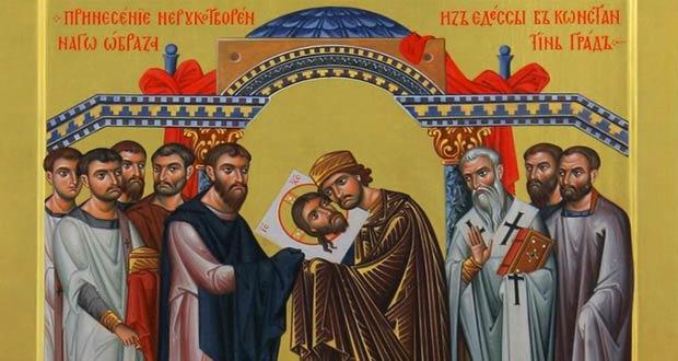 Святой Фаддей в городе Эдесса вместе с холстом Иисуса