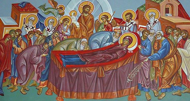 Апостолы собрались, чтобы проститься с Девой Марией