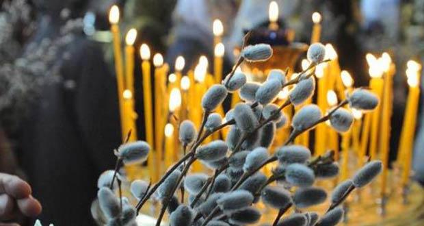 Освященные в церкви веточки вербы