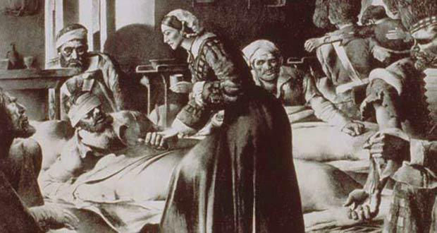 Медицинская сестра Ф. Найтингейл ухаживает за больными