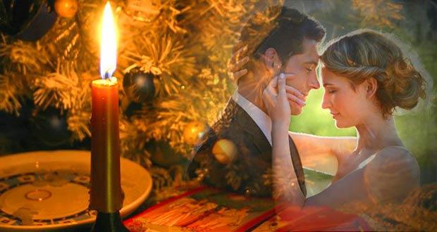Красивая пара на фоне свечи