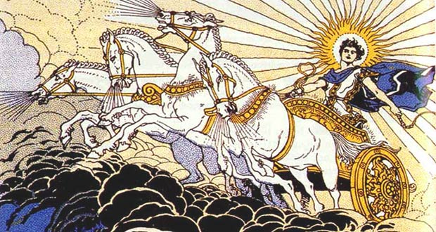 Языческий Бог Купало на колеснице