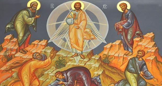Иисус вместе со святыми апостолами на горе Фавор