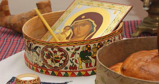 Хлеб и икона Пресвятой Девы Марии