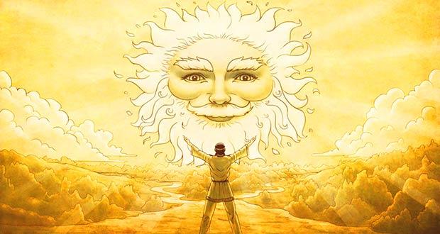 Человек обращается к Солнцу