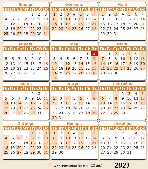Календарь венчаний 2021