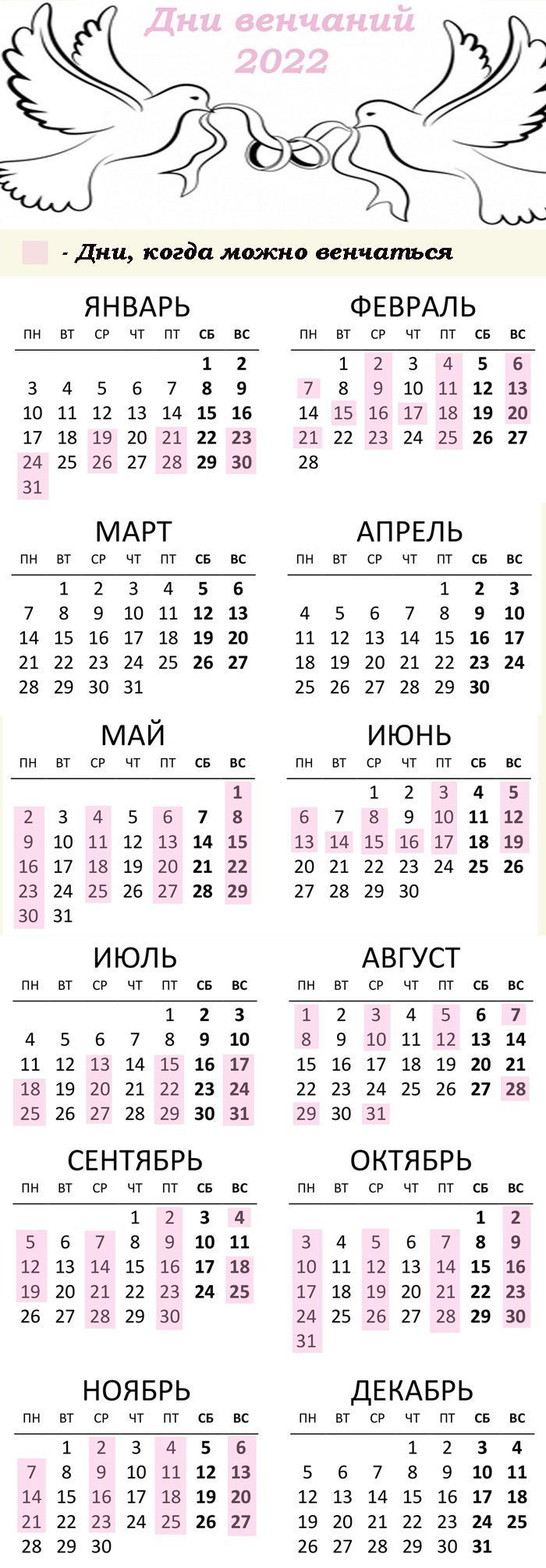 Календарь - дни для венчаний в 2022 году