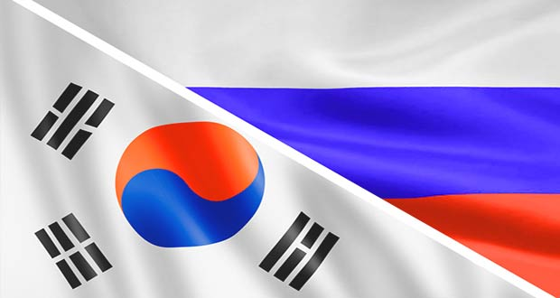 Флаги Южной Корее и РФ