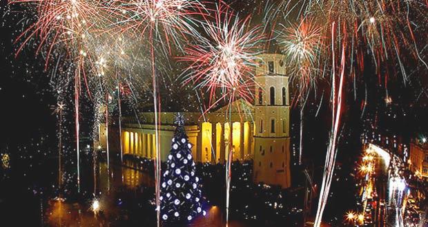 Новогодний салют в белорусской столице - Минске