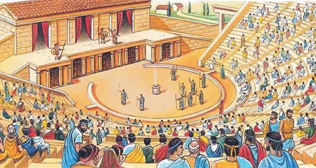 Выступление актеров в греческом амфитеатре