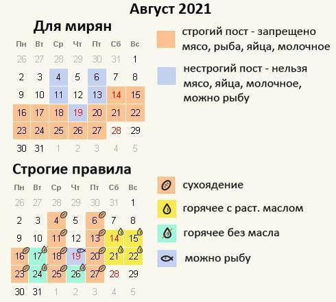 Успенский пост 2021 - питание по дням