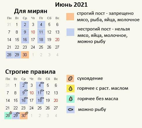 Дни поста в июне 2021