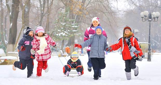 Дети зимой катаются на санках