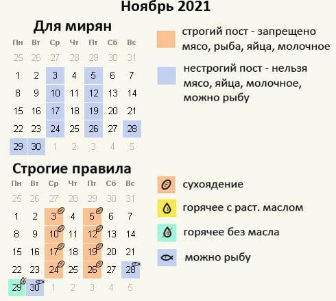 Посты для православных в ноябре