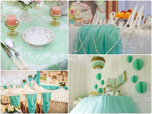 Как оформить свадебный зал в ментоловом цвете
