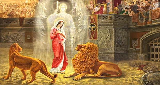Святая Татиана в клетке со львами