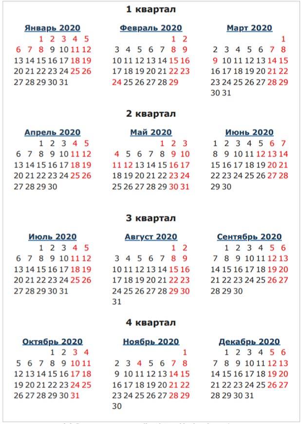 Календарь выходных дней 2020