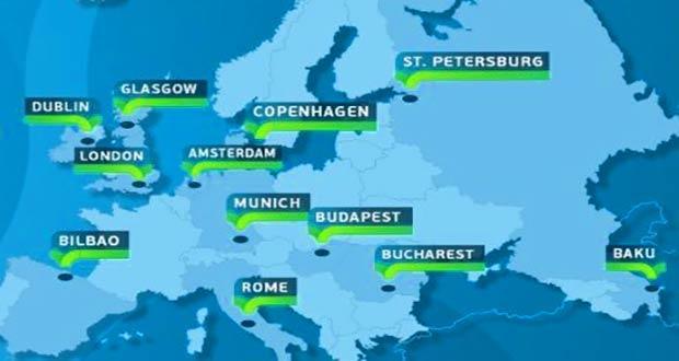 Страны и города принимающие Евро 2020 (карта)
