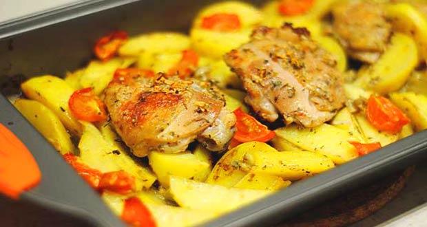 Блюдо к Новому 2020 году: курица с картошкой
