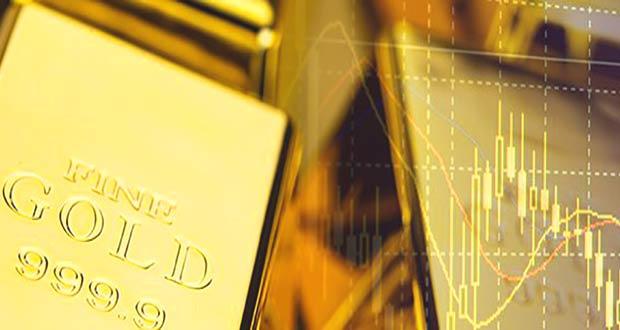 Золотой слиток и график изменения цены