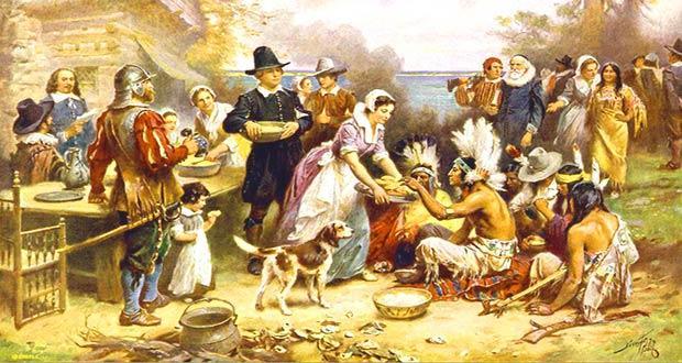 Встреча английских переселенцев с индейцами
