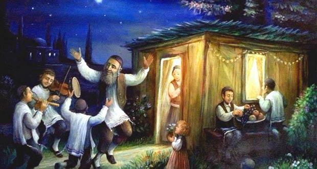 Евреи ночью отмечают Праздник кущей