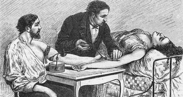 Одни из первых переливаний крови в мире