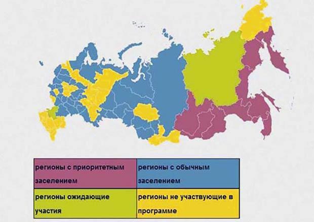Приоритетные регионы России для переселения