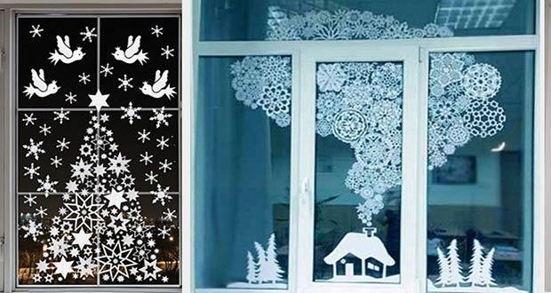 Трафареты на окна на Новый год 2021