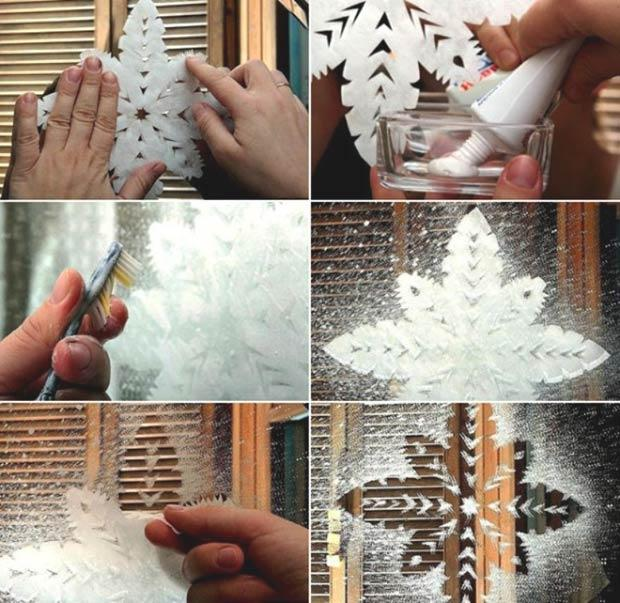 Пошагово этапы рисования снежинок зубной пастой