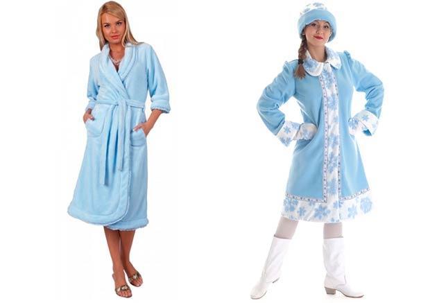 Создаем костюм Снегурочки своими руками из женского халата