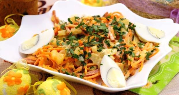 Новогодний салат с овощами и колбасой к Новому 2020 году Крысы