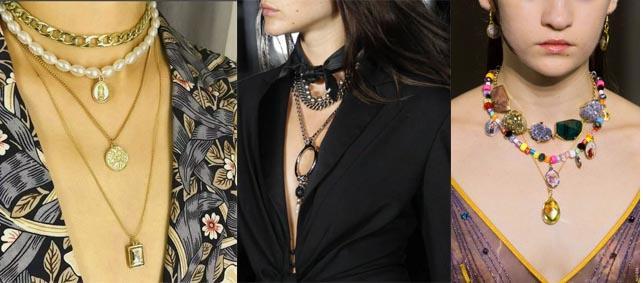 многоярусные украшения на шею