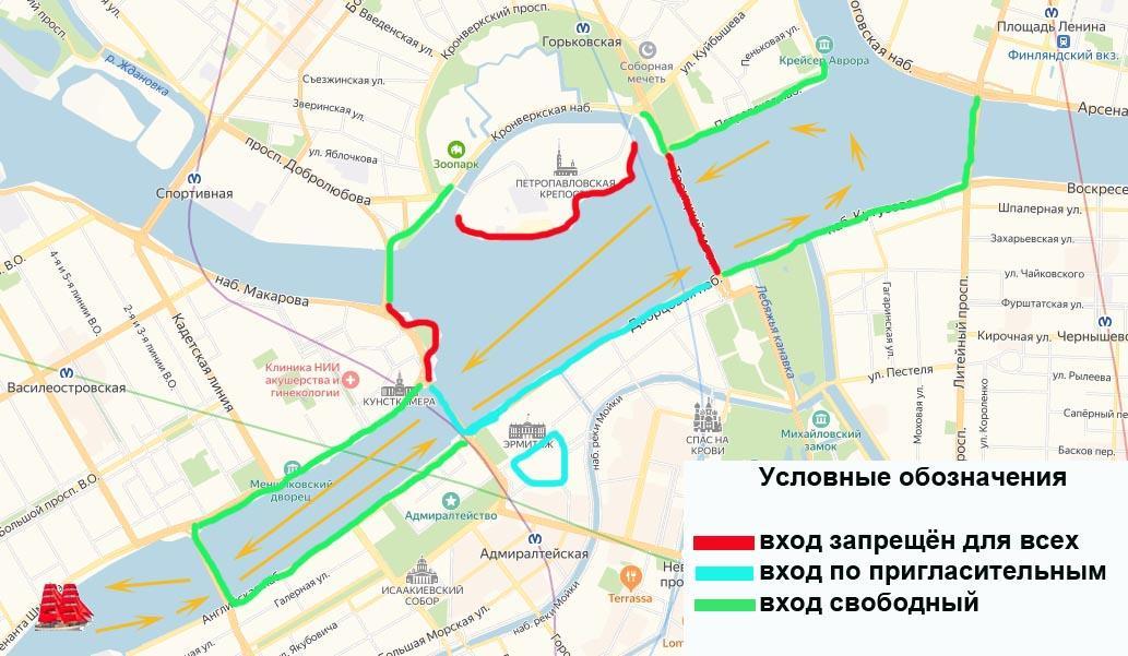 Карта: где смотреть Алые паруса
