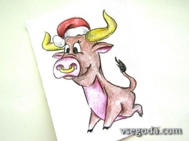 Готовый рисунок бычка на новый год 2021
