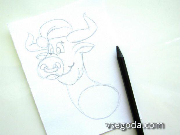 Рисуем бычка- 3 шаг