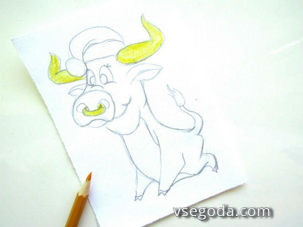 Раскрашиваем быка- жёлтый карандаш
