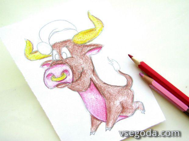 Рисунок новогоднего быка 2021