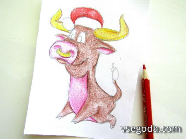 Фотоинструкция- как нарисовать быка - 8 шаг